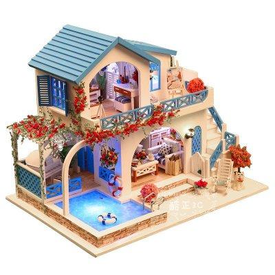 【酷正3C】DIY小屋 袖珍屋 娃娃屋 模型屋 材料包 玩具娃娃住屋 手做工藝 拼裝房子禮物 含防塵罩 K015藍白小鎮