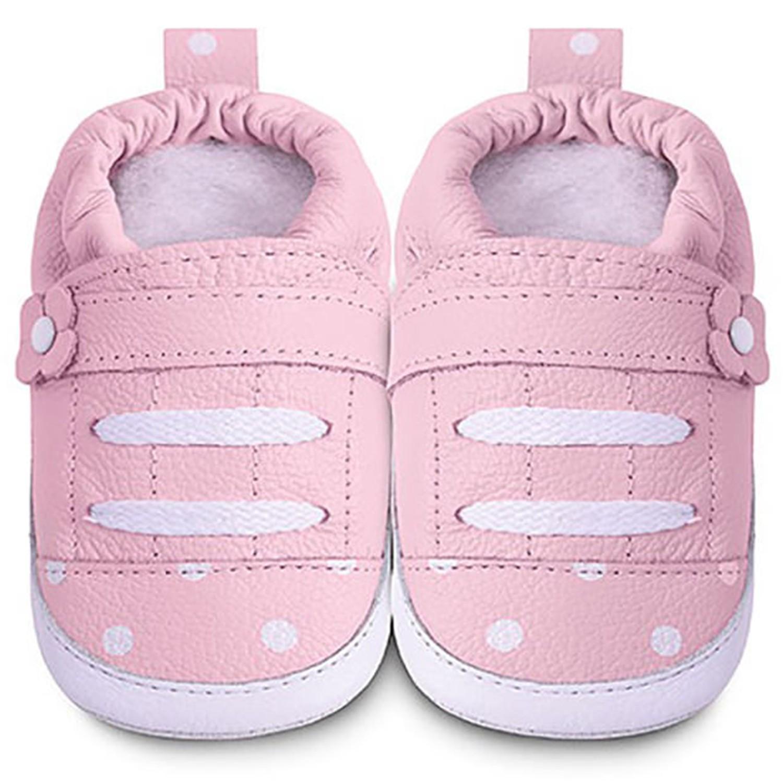 英國 shooshoos - 健康無毒真皮手工鞋/學步鞋/嬰兒鞋/室內鞋/室內保暖鞋-淡粉點點運動款