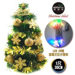 摩達客 台灣製迷你1呎/1尺(30cm)裝飾綠色聖誕樹(金球雪花系)+LED20燈彩光插電式(樹免組裝|本島免運費)