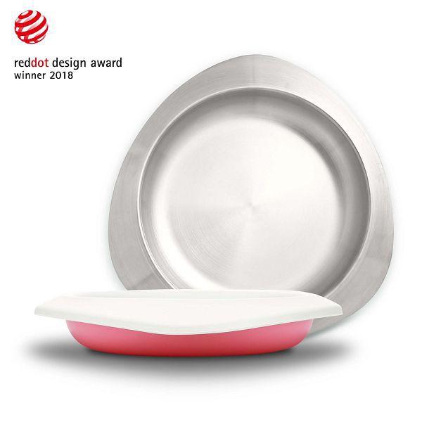 台灣 VIIDA Soufflé 抗菌不鏽鋼餐盤(甜心粉)【麗兒采家】