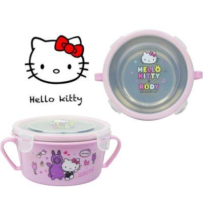 【家樂購】HELLO KITTY不鏽鋼雙耳隔熱碗/幼兒學習隔熱餐碗x1入(粉紅)