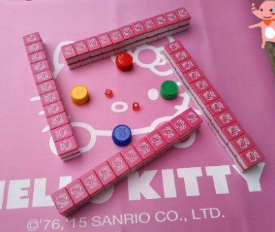 hellokitty 可愛麻將 家用卡通KT麻將 中大號手打凱蒂貓麻將(40mm)
