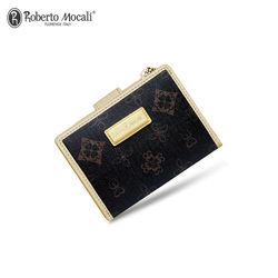 【Roberto Mocali 諾貝兔】時尚優雅黑金皮夾系列  幸運草壓紋暗扣式三折短夾