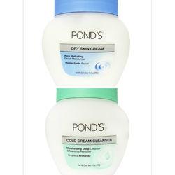 【美國進口 POND'S】滋養霜286g/10.1oz(藍瓶)*1+深層卸妝按摩霜269g/9.5oz(綠瓶)*1