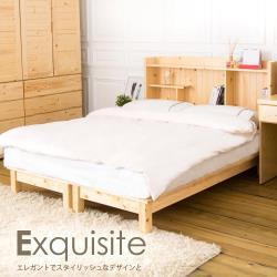 【時尚屋】[NE8]里奈5尺松木實木書架型雙人床NE8-81-1+2不含床頭櫃-床墊/免運費/免組裝/臥室系列