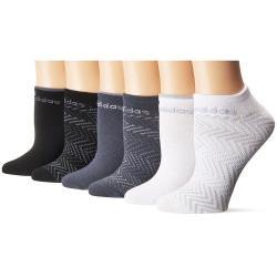 Adidas 2019女時尚無外秀黑灰白色短襪混搭6入組