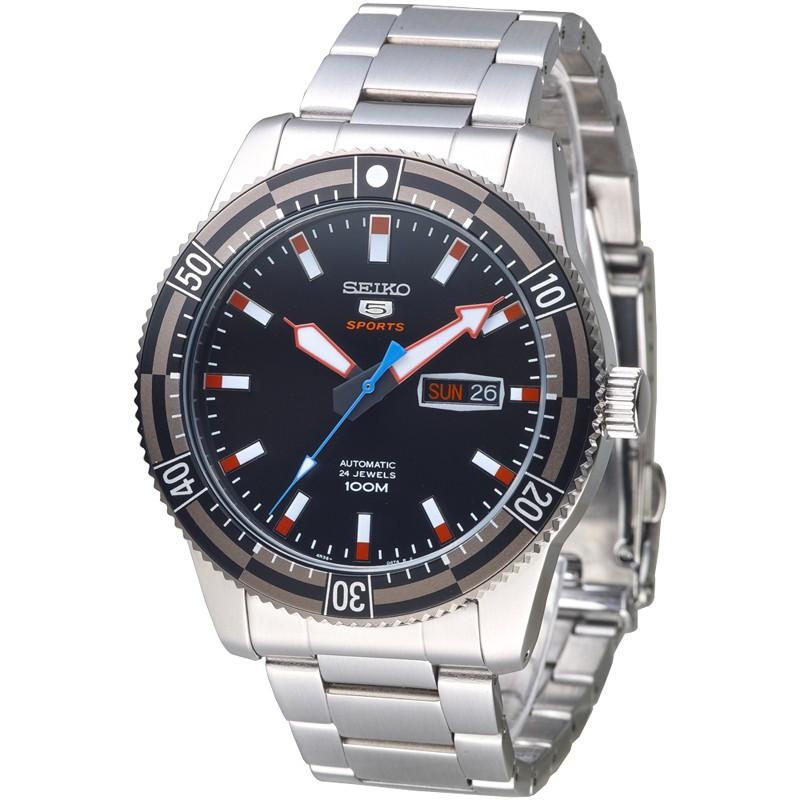 【SEIKO精工】機械錶 SRP735K1 運動潛將百米5號24石自動機械男錶-IP黑框_保固二年,超值搶購