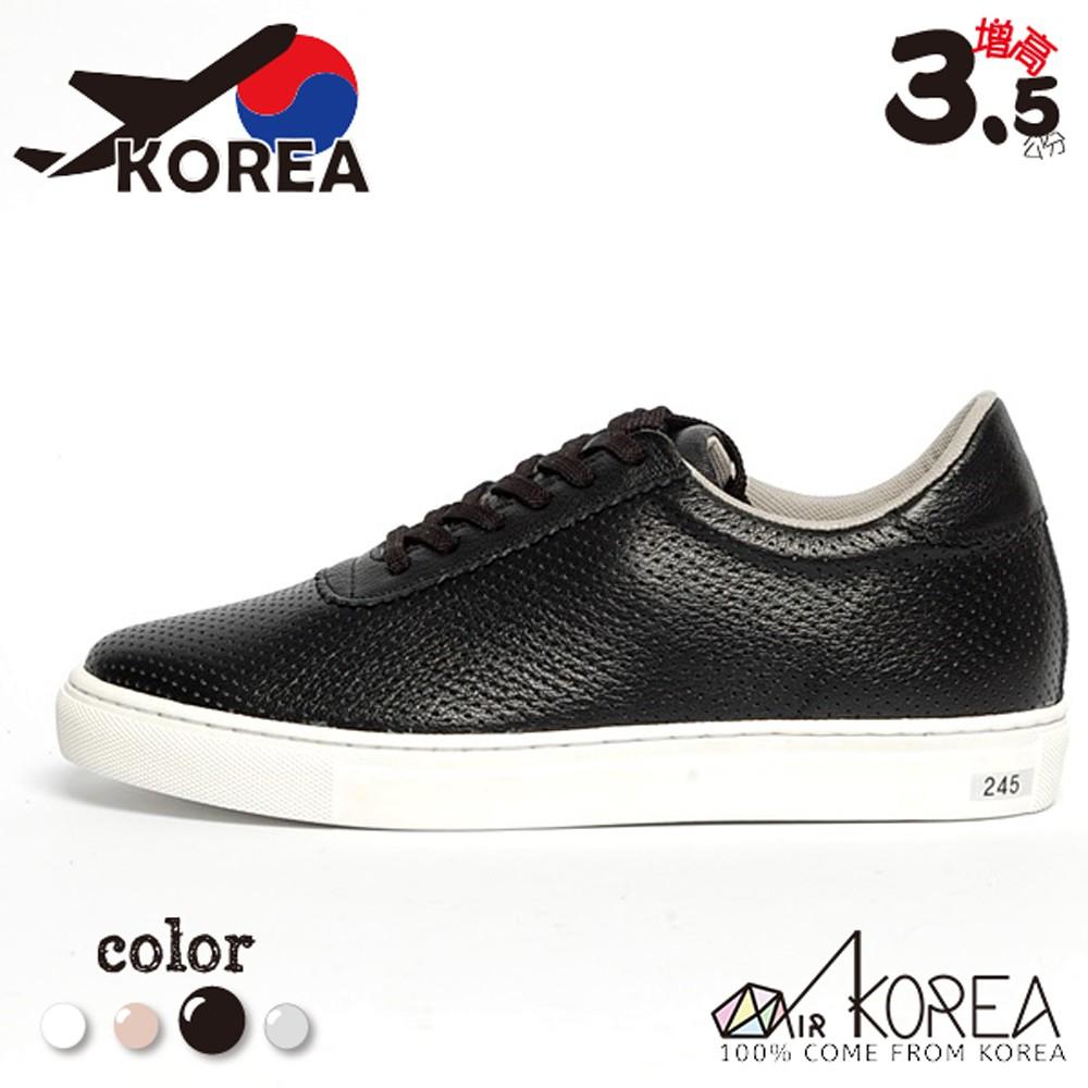 【AIRKOREA】韓國空運質感真皮革休閒基本款增高鞋增高3.5公分 黑 -現貨+預購(5982-0016)