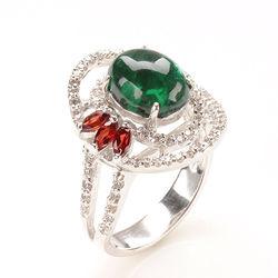 【寶石方塊】碧波蕩漾天然綠碧璽戒-925純銀飾