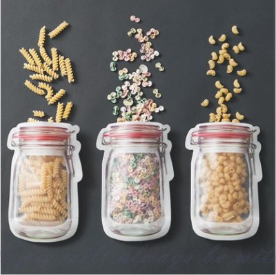 【梅森瓶造型食物密封袋】AP0288 雙層密封袋 食物保鮮袋 野餐食物密封袋 食物分享袋 食物保存袋 食物收納袋