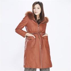 IKON時尚狐狸毛防水小羊皮羽絨大衣