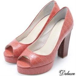 【Deluxe】全真皮仿蛇紋露趾魚口高跟鞋(橘)-002-5