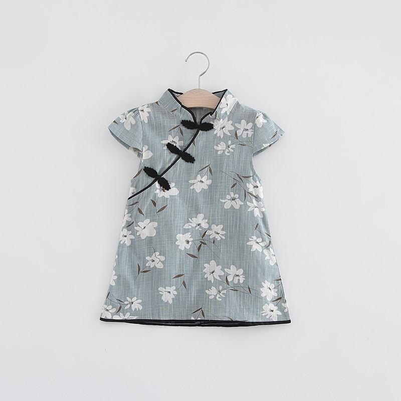 寶貝女孩中國傳統風格花卉圖案連衣裙【IU貝嬰屋】