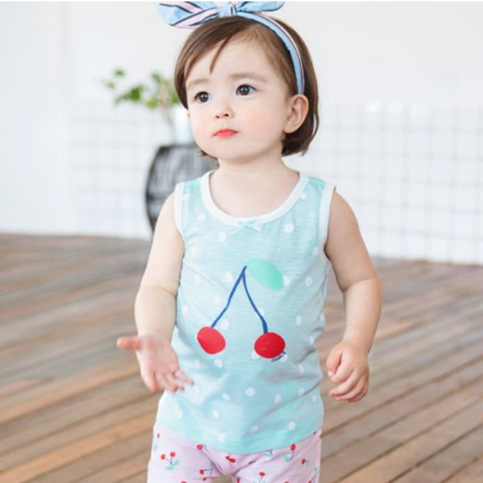 韓國 Cordi-i 幼兒親膚涼感無袖套裝-圓點櫻桃