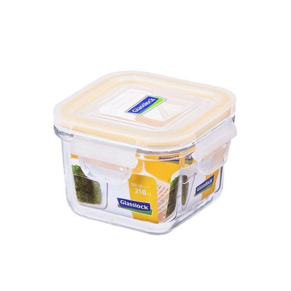 Glass Lock強化玻璃保鮮盒210ml正方型密封盒RP545便當盒副食品保存盒-大廚師百貨
