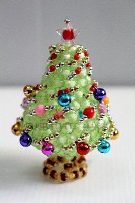 【串珠】珠中珠 吊飾 手工串珠 聖誕樹 迷你聖誕樹 飾品 裝飾 串珠材料包 串珠成品 聖誕禮物
