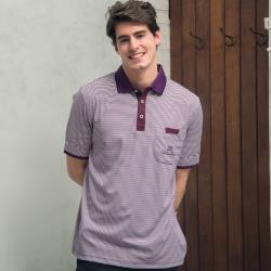 Valentino Rudy范倫鐵諾.路迪-吸濕排汗Polo衫-紫條暗紫領