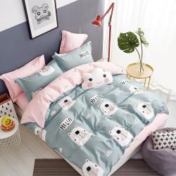 情定巴黎-萌仔熊 嚴選40支100%精梳純棉雙人床包組
