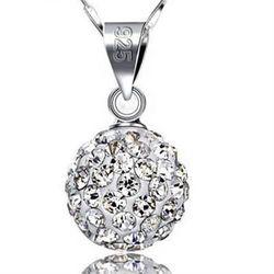 【米蘭精品】925純銀項鍊鑲鑽吊墜圓型獨特韓國迷人百搭水晶銀飾
