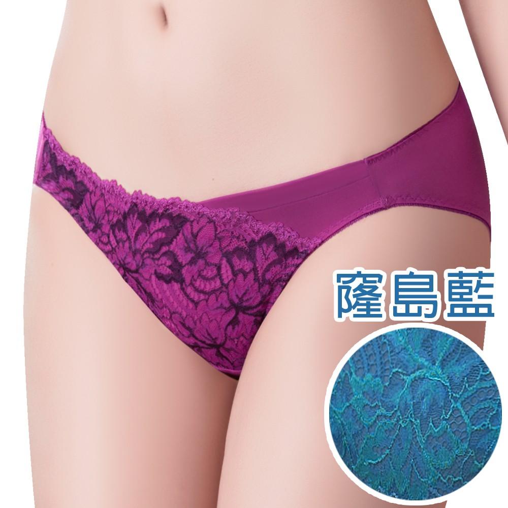 SWEAR 思薇爾 撩波葉之舞系列M-XXL蕾絲低腰三角內褲(窿島藍)