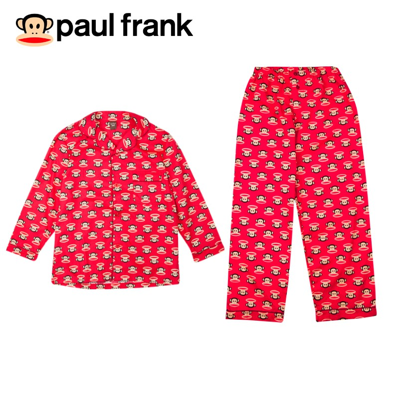 paul frank長袖滿版印花睡衣-紅色