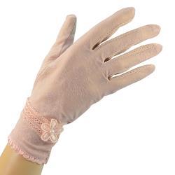 幸福揚邑-冰絲觸控新娘婚禮手套涼感透氣騎車開車防曬手套-桐花-粉