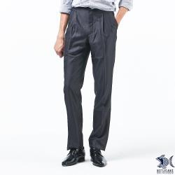 【NST Jeans】大尺碼 夏季西裝褲 白網點鐵灰 羊毛打摺西裝褲(中高腰寬版) 001-7286