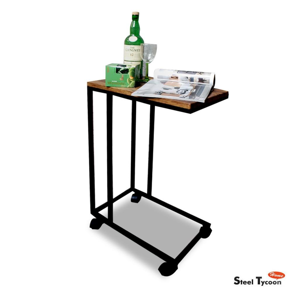【鋼鐵力士】ㄈ型工業風移動邊桌【可可亞/仿古紋棕】