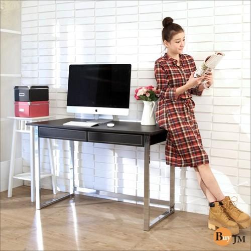 免運 仿馬鞍皮電鍍粗管雙抽大書桌/電腦桌 工作桌 辦公桌I-CH-DE055BK