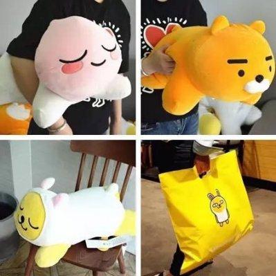 韓國精品 k*kao屁桃獅子兔子趴趴玩偶軟靠墊 RYAN毛絨公仔玩具 抱枕