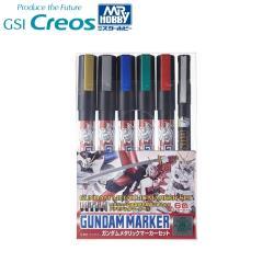 日本MR.HOBBY郡氏Gsi Creos鋼彈麥克筆Gundam Marker套筆GMS-121(5支油性金屬色+1支水性黑色墨線筆)GUNZE鋼普拉