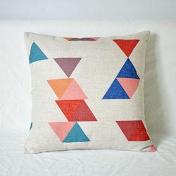 【協貿】時尚簡約棉麻幾何圖案印花D款方形抱枕含芯