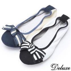【Deluxe】全真皮海軍風娃娃鞋(黑★藍)-199-16