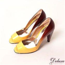 【Deluxe】閃亮漆皮漸層色系魚口高跟鞋(漸層黃)-095-1A
