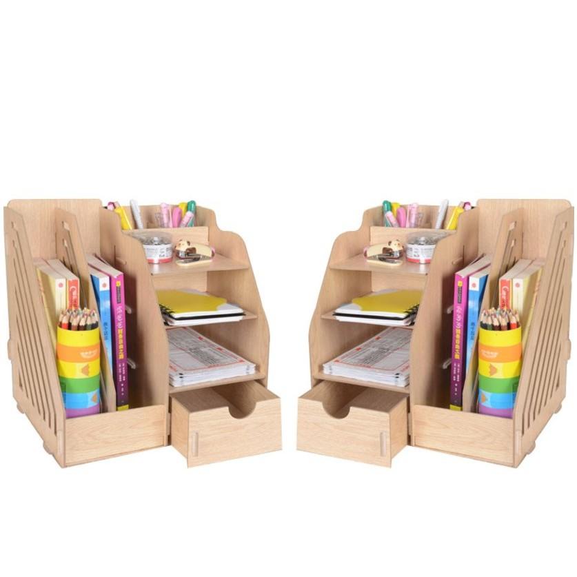 DIY木質創意文件收納盒 (1034B) 辦公用品大號抽屜式桌面收納盒木質文件架創意文件盒居架必備xxXboykimo