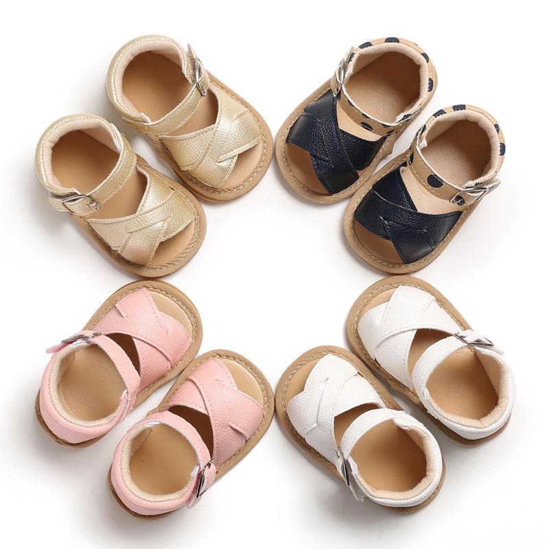 春秋0-1歲女寶寶膠底露趾防滑涼鞋嬰兒學步鞋