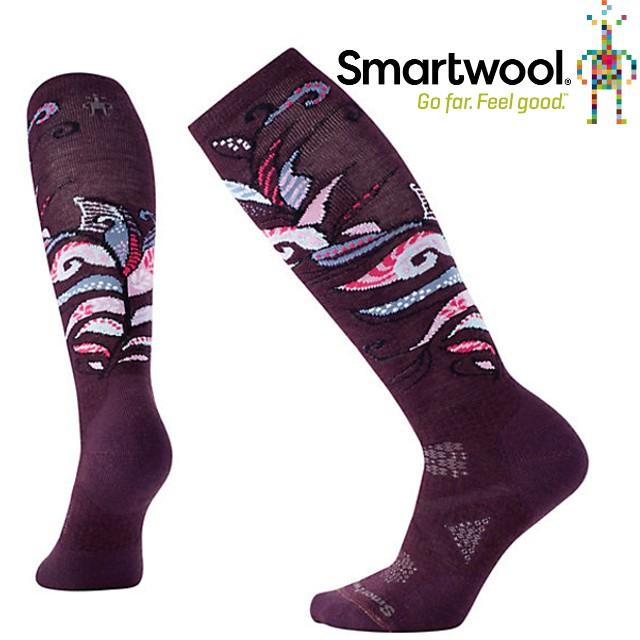 Smartwool羊毛襪/雪襪/保暖襪/美麗諾羊毛/l 女款PhD滑雪中級減震印花高筒襪SW015018 590 葡萄紫