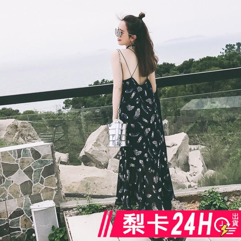 梨卡 - 夏日度假沙灘印花雪紡顯瘦洋裝連衣裙碎花洋裝長洋裝連身長裙沙灘裙C6264【現貨24H】
