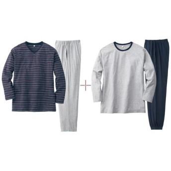 【レディース】 綿100%4点セットパジャマ(男女兼用) - セシール ■カラー:グレー無地&紺ボーダーセット ■サイズ:S