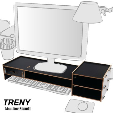 【TRENY直營】電腦螢幕增高架 (加厚加長-黑) 電腦螢幕收納架 螢幕架 鍵盤架 鍵盤收納 抽屜 5088E-B