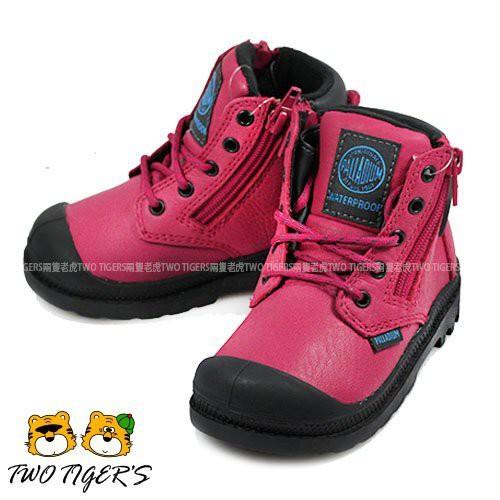 【經典款】Palladium Waterproof 桃紅色 皮革防水短靴 小童鞋 寶寶鞋 NO.R2234