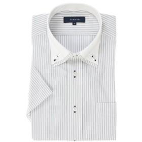 (TAKA-Q/タカキュー)形態安定レギュラーフィット2枚衿ドゥエボタンダウン半袖シャツ/メンズ ブラック
