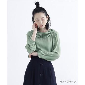 メルロー シフォンピエロ襟ブラウス レディース ライトグリーン FREE 【merlot】