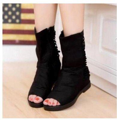 春夏平跟女鞋高幫網紗魚嘴鞋黑色镂空平底涼鞋羅馬魚嘴短靴,休閒,時尚,百搭,
