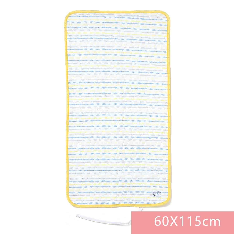 日本SHF - 二重紗內芯涼感午睡墊-藍黃條紋-白底 (60×115cm) (W60×H115cm)