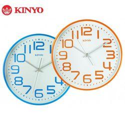 KINYO 溫馨馬卡龍-13吋大數字超靜音掛鐘