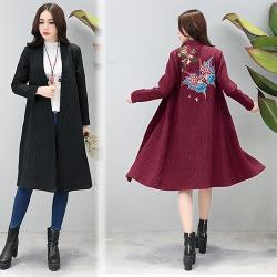 KW韓國. XL-3XL 中國風刺繡保暖外套