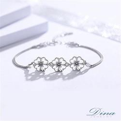 DINA JEWELRY蒂娜珠寶  雕花感幸運草 925純銀CZ鑽手環 ( DML61507)