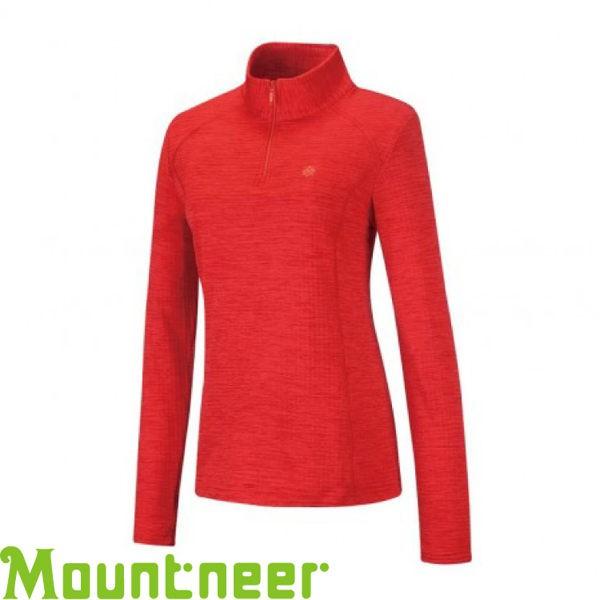 【Mountneer 山林 女款 雲彩針織保暖上衣《紅》】22P16/吸濕排汗/長袖衣/悠遊山水