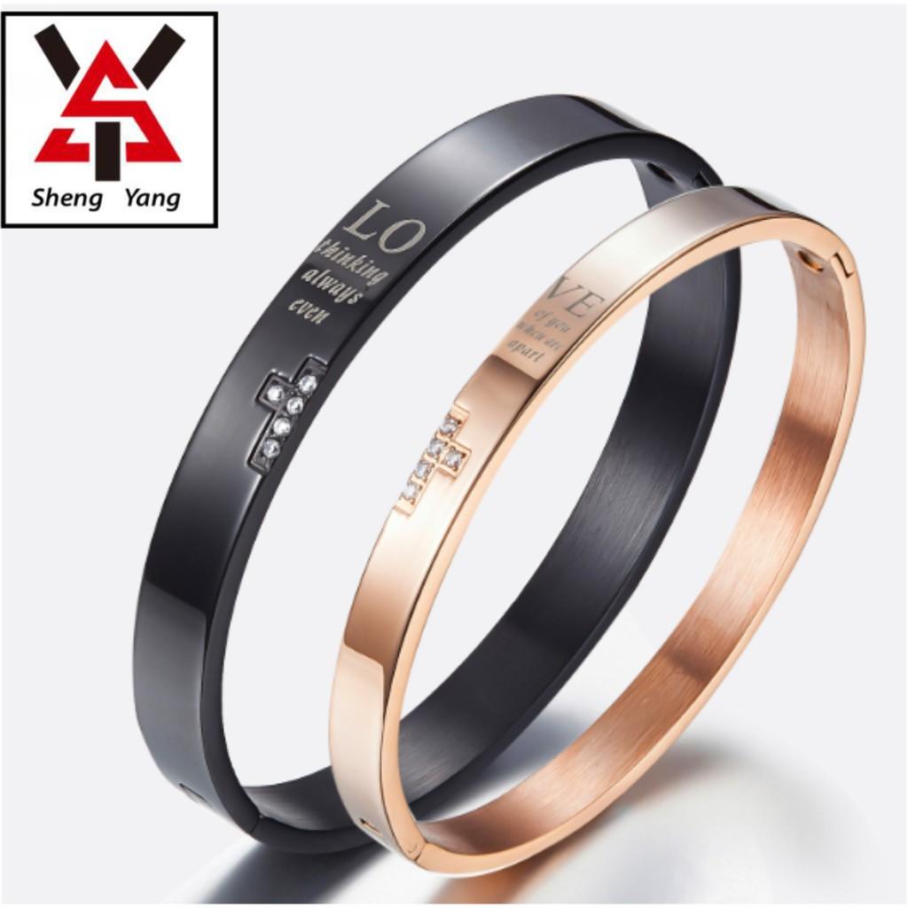 【S.Y】鈦鋼鍍18K情侶款手環 兩色